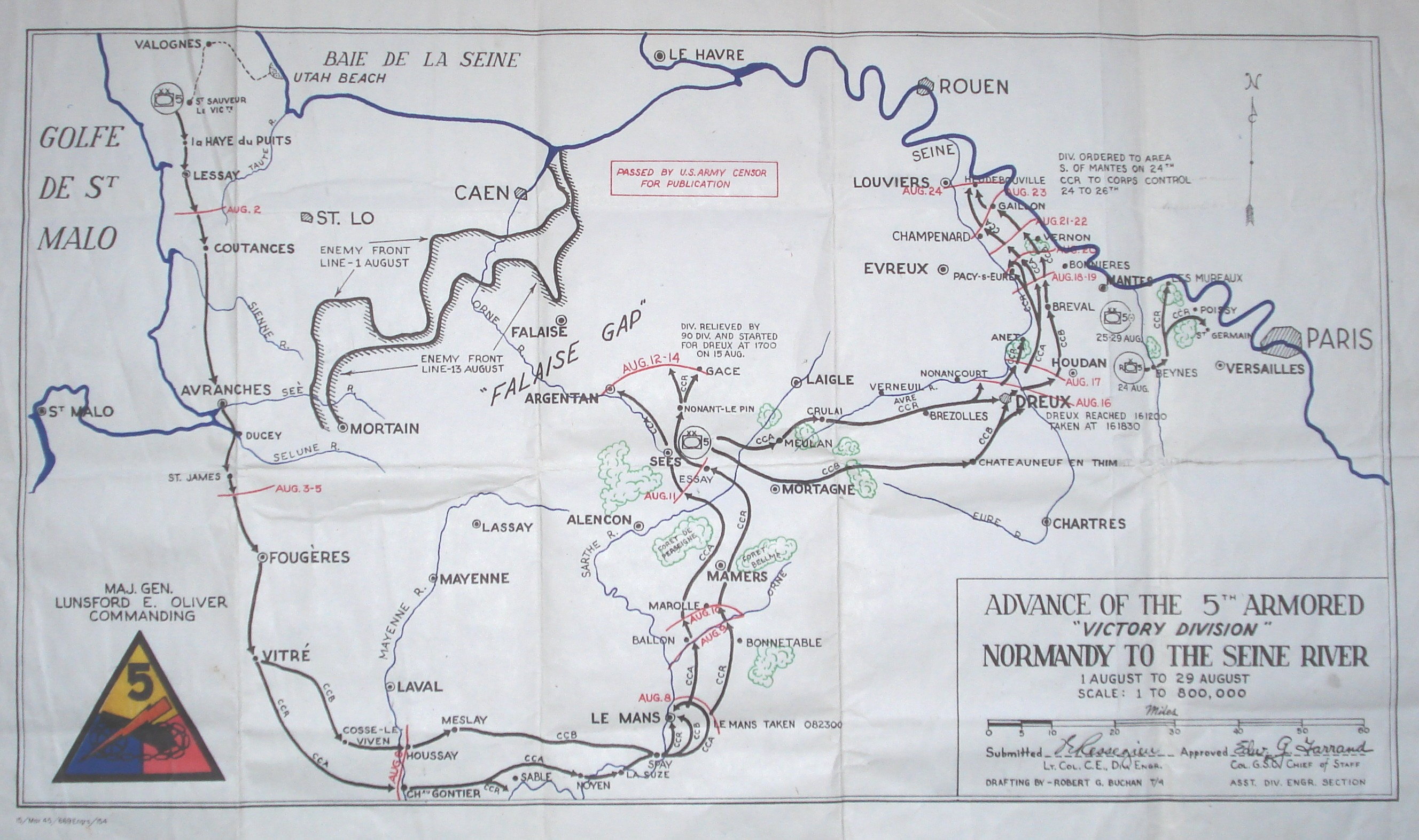Trek of the 5th Armored Division from Normandy to the Seine River