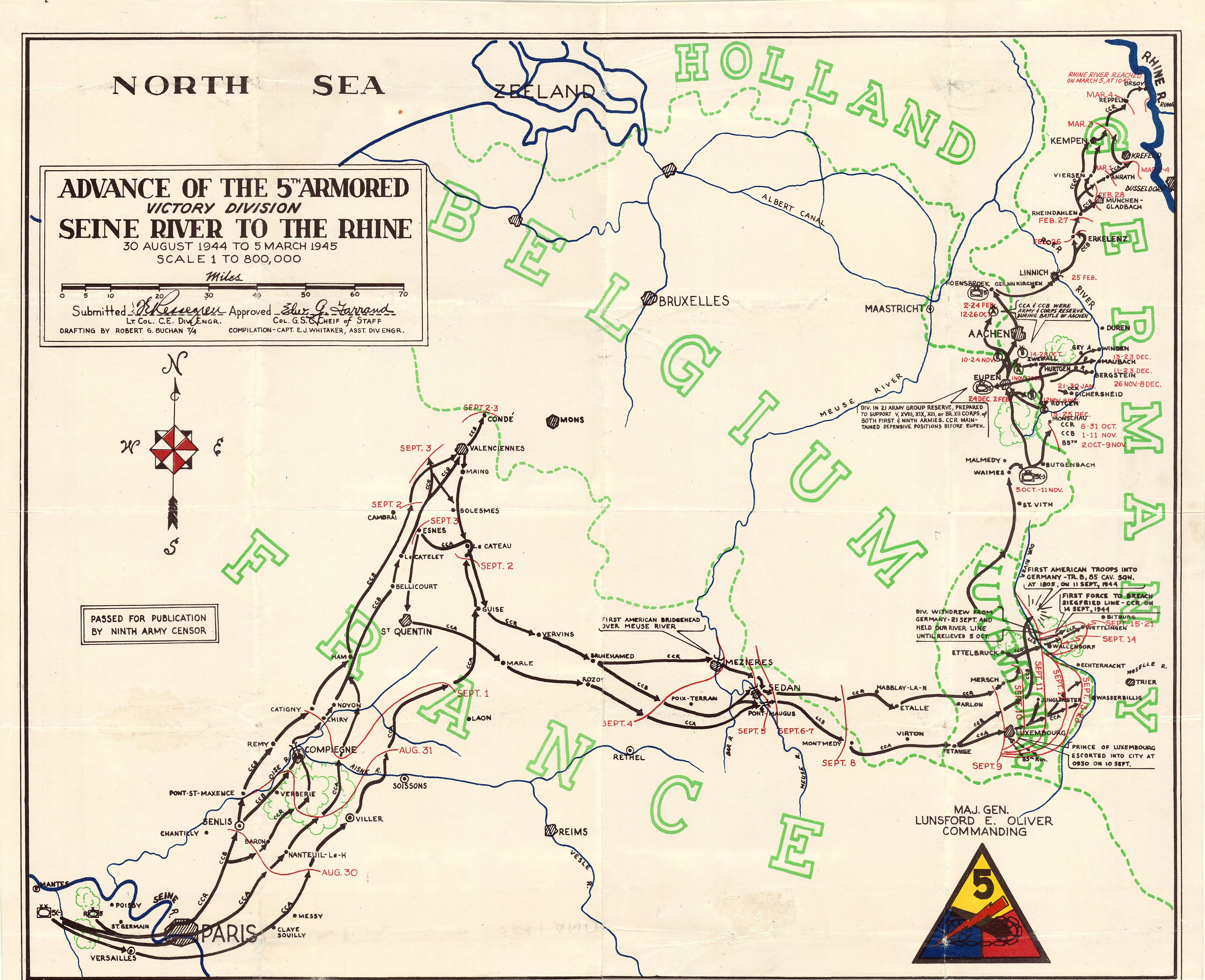 Trek of the 5th Armored Division from Seine River to the Rhine River