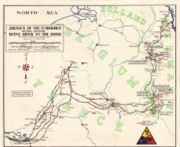 Trek of the 5th Armored from the Seine River to the Rhine River